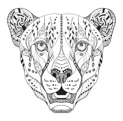 Cheetah head zentangle stylized, vector, illustration, pattern. Anti stress coloring book for adults and kids.