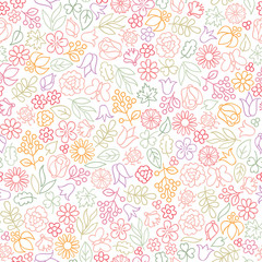 Flower icon seamless pattern. Floral leaves, flowers white textu