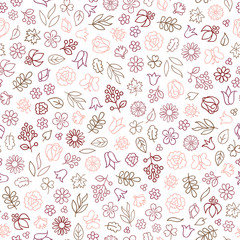 Flower icon seamless pattern. Floral leaves, berry, flowers white texture