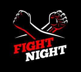 Vector clenched fists fight MMA, kick boxing, karate sport night cage show illustration on dark background. Athletes square off concept poster template. Red, black, white design.