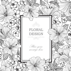Floral card background. Garden Flower bouquet. Spring nature engraved pattern