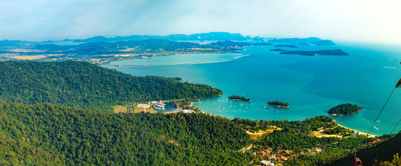 Panoramic view of blue sky, sea and mountain seen from Cable Car viewpoint, Langkawi Island, Malaysia. Wall mural