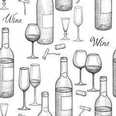 Drink wine seamless engrave pattern. Wine glass and bottle backg