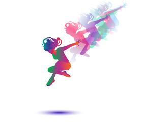 Woman dancer silhouette. Girl dancer isolated on white. Modern Dance woman vector illustration. For Modern Dance, Pop art, music Festival event poster design.
