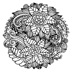 Doodle floral pattern in black and white. Page for coloring book: Zentangle drawing