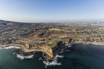 Foto op Textielframe Luchtfoto Aerial view Whites Point on the San Pedro coastline in Los Angeles, California.