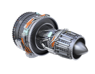 Rear view of turbofan jet engine isolated on white background. 3D rendering image.