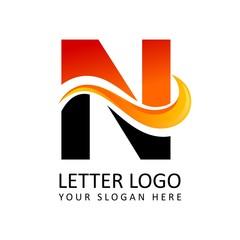 Letter N Fire Logo