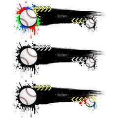 Set grunge banners with blots and baseball balls