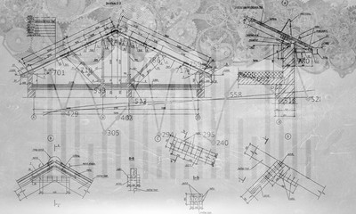 Engineering drawn plan. Mixed media