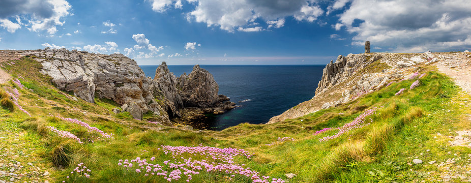 Panorama of Pointe du Pen-Hir with World War Two monument to the Bretons of Free France on the Crozon peninsula, Finistere department. Brittany (Bretagne), France.