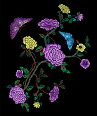 Embroidery oriental folk pattern with peonies and butterflies. Vector embroidered floral sketch with branch of flowers for clothing design.
