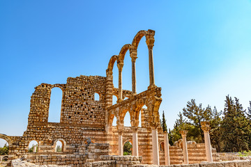 Great Palace of Umayyad Palace at Anjar in Lebanon. It is located about 50km east of Beirut and has led to its designation as a UNESCO World Heritage Site in 1984.