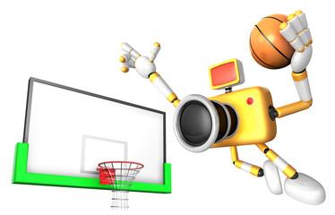 Yellow camera basketball player Vigorously jumping. Create 3D Camera Robot Series.