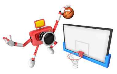 3D Red camera basketball player Vigorously jumping. Create 3D Camera Robot Series.