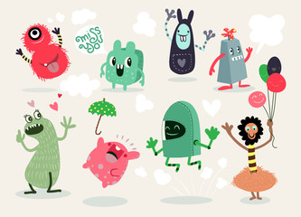 Cute Cartoon Monsters,Vector cute monsters set collection isolated Fotobehang