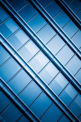 full frame of glass building exterior pattern.