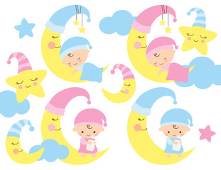 Baby on the moon vector illustration. Cute baby boy and girl sleeping and sitting on the moon.