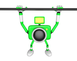 Green Camera character is hanging in horizontal bar. Create 3D Camera Robot Series.