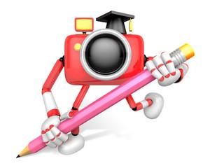 Red Camera Character pencil a handwriting. Create 3D Camera Robot Series.