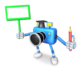 The left hand Holding the board Doctor Blue Camera Character. The right hand grasp pencil. Create 3D Camera Robot Series.