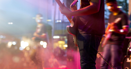 Guitarists on stage for background, soft and blur concept