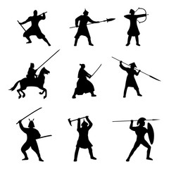 The Big Set of Warriors Silhouette on white background. Isolated Vector illustration.