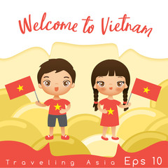 Boy and girl with national flag : Vector Illustration