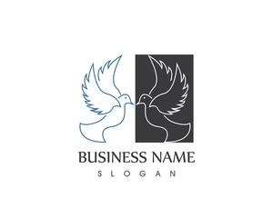 Black Dove Bird Silhouette Logo Design
