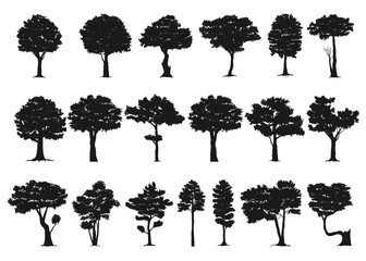 set of tree silhouette