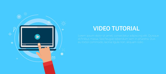 Video tutorial banner. Hand pressing a computer