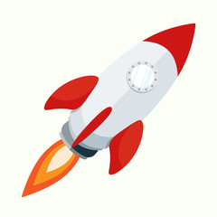 rocket isolate launch flat vector