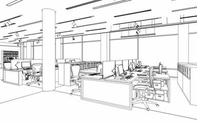 Büroeinrichtung (Skizze)