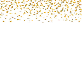 Gold stars falling confetti isolated on white background. Golden abstract rain confetti. Decoration sparkle explosion festive, celebration party. Holiday design stars Vector illustration