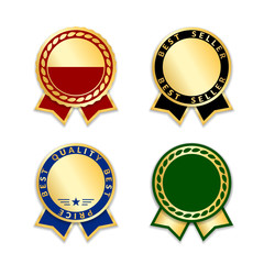 Award ribbons isolated set. Gold blue design medal, label, badge, certificate. Symbol best sale, price, quality, guarantee success, achievement. Golden ribbon award decoration Vector illustration