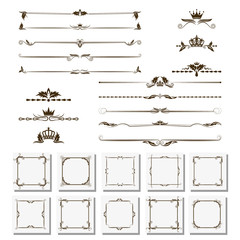 set of design elements, frames, dividers, borders. Vector illustration for design of pages.