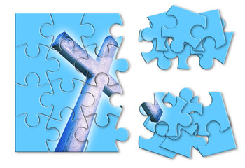 Rebuild or losing our faith - Christian cross concept image in jigsaw puzzle shape