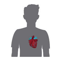 heart on the silhouette of a man