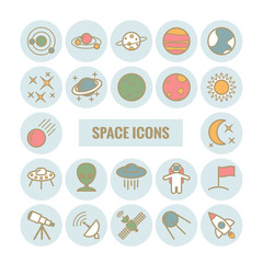 Collection of vecotr outline space icons. Modern flat icons for web design
