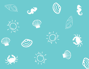 Background. Summer. Flat monochrome summer pattern. Wrapping paper summer pattern. Cute doodle summer pattern with shell and sun.
