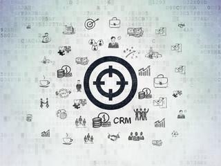 Finance concept: Target on Digital Data Paper background