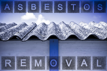 Asbestos removal concept image with text