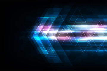 Vector arrows in technology concept on dark blue background.