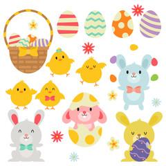 Easter Egg Basket Bunnies Chicks In White Background