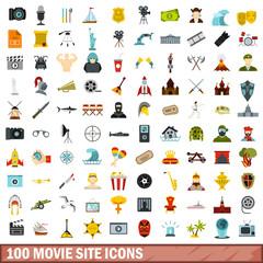 100 movie site icons set, flat style