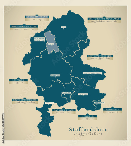 Modern map staffordshire county england uk illustration stock modern map staffordshire county england uk illustration gumiabroncs Image collections