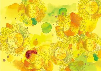 ひまわり 水彩 小 黄