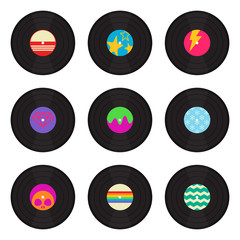 Vintage Vinyl Records With Cool Designs