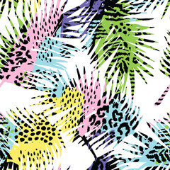 Trendy seamless exotic pattern with palm, animal print and hand drawn textures.