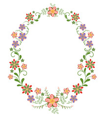 decorative vertical oval frame vignette with bright simple flowers